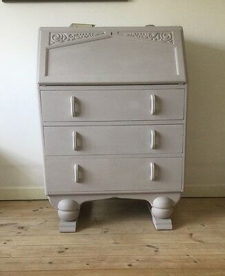 Grey Vintage 1930s Art Deco Oak Writing Bureau