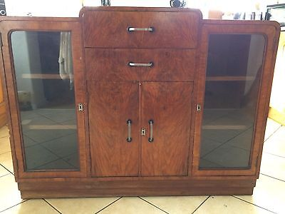 Art Deco style wooden cabinet with panelled glass doors