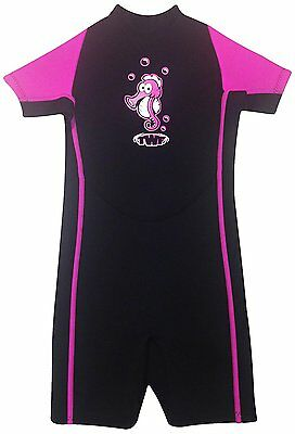 GIRLS PINK SEAHORSE CHILDS WETSUIT SHORTY age 7-8 years CHILDRENS KIDS SHORTIE
