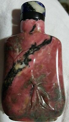 Vintage Antique Chinese Marble Snuff Bottle With Top And Spoon 'nice'