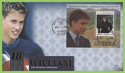Guyana 2000 Prince Williams 18th Birthday M/S on First Day Cover