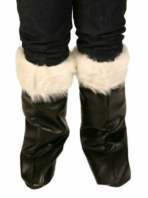Black Santa Boot Covers With White Fur Trim