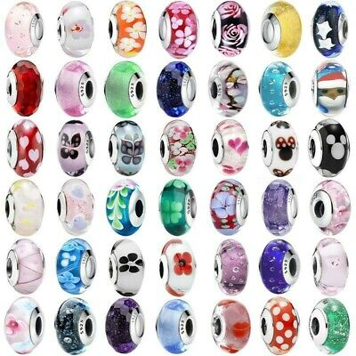 925 NEW Sterling Murano Glass Silver Charms Bead For European Bracelet Chain CA