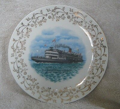 Early 1900s SS Christopher Columbus CHICAGO-MILWAUKEE Route Souvenir Plate
