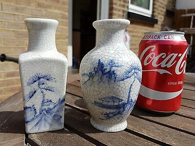 Pair Chinese 20th Century Crackle Glazed Ge-Type blue and white Vases