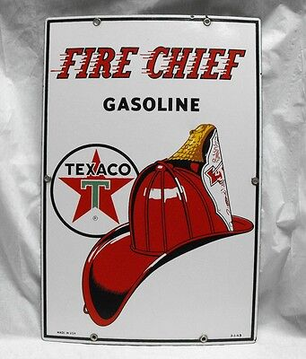 Vintage original Texaco Fire Chief porcelain gas oil sign gas pump excellent