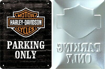 Harley Davidson Embossed Metal Sign - Only Parking 20 x 15 cm