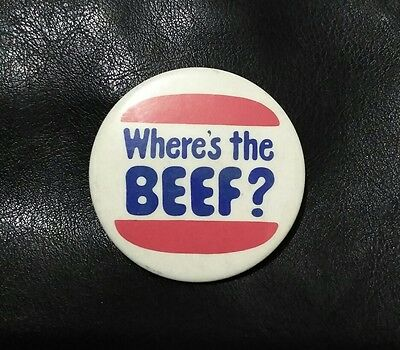 Where's the Beef? 80s retro vintage pop culture pin button