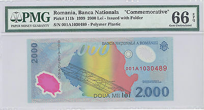 "1999 Romania ""Commemorative"" Banca Nationala 2000 Lei PMG 66 EPQ GEM UNC P#:111b"