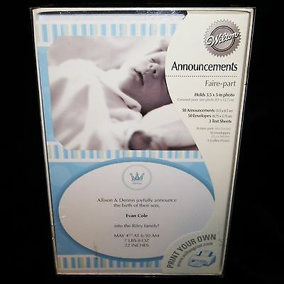 Birth Announcements 50 Wilton Make Your Own Print it Yourself Blue Baby Boy NEW