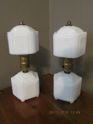 Vtg Pair Geometric White  Milk Glass Lamps Art Deco Boudoir Bedroom Table