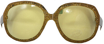 Large Gold Framed Glasses With Yellow Lenses