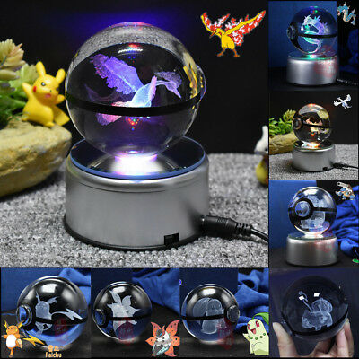 3D Crystal Ball Pokemon Go Pikachu Gengar Eevee LED Spin Engraved Pokeball Gift