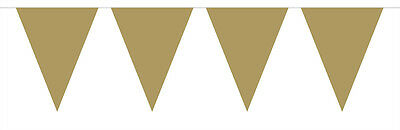 Plain Gold Glossy Flag Party Bunting 15 Flags 10M Party Decoration