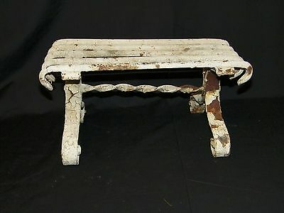 Antique Victorian Cast Ion Foot Stool Garden Child's Bench Chippy White Paint
