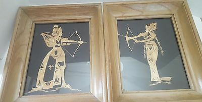 Vintage Pair of Framed Bamboo Japanese Art Man Woman Bow Arrow