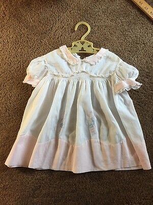 Vintage Hand Made Baby Dress With Vintage Hanger