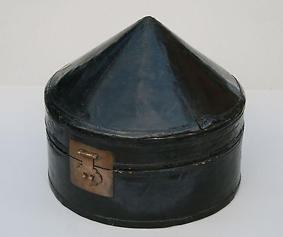 Antique Chinese Mandarin Hat Box Lacquered Leather Qing Dynasty