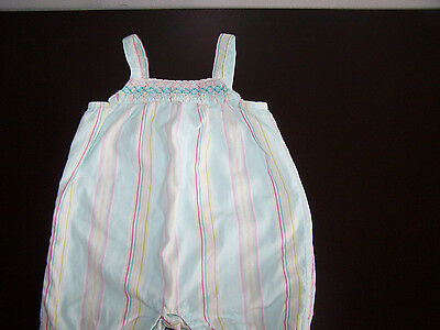 Janie and Jack Romper Stripes Smocked Girls Baby 0-3 Months Pink Blue/Green