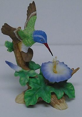 "1995 Lefton Hummingbird Figurine Porcelain 6.25"" Tall Hand Painted Signed"