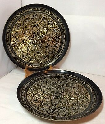 Pair of Vintage Indian Brass Etched Engraved Geometric Tray Platter Dish Charger