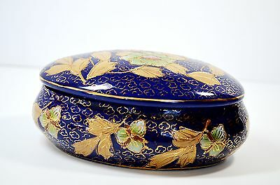 Satsuma Cobalt Blue Porcelain Jewelry Box Trinket made in China