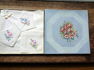 Vintage 3 Handkerchiefs Hankies Ladies Embroidered Boxed Made in N Ireland