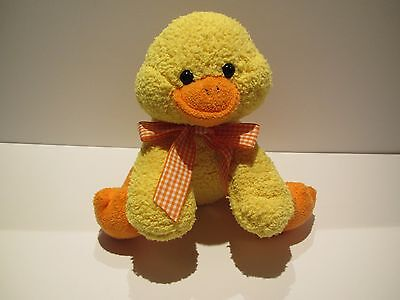Princess Soft Toys Plush Yellow Duck Chick Stuffed Animal Orange Ginham Bow