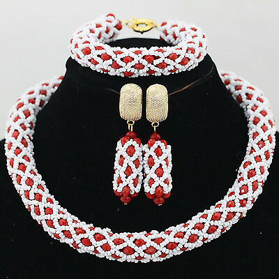 African Nigerian Wedding Party Mixed Crystal Beads Bridal Necklace Set