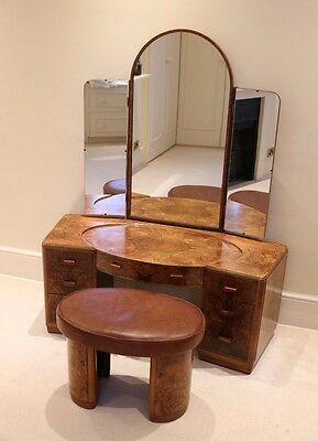 Art Deco Dressing Table And Stool In Walnut By Hillie