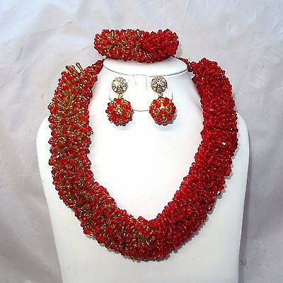 2 Tones Red Gold Party African Nigerian Beads Necklace Jewellery Set