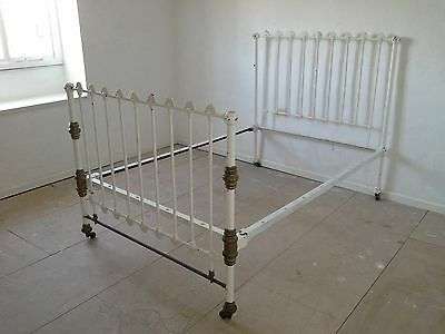 Antique Cast Iron and Brass Bed