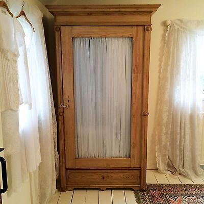 Antique Vintage Single Pine Wardrobe With Drawer & Lift Off Glass Door