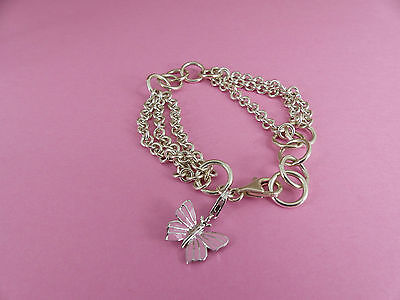 Sterling Silver Bracelet with Enamelled Butterfly Charm 7 1/2''