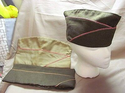 WWII US Army Engineers Overseas Garrison Cap Hat lot of 3 - named
