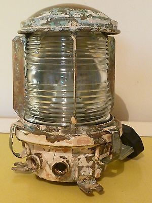 AUTHENTIC vintage Industrial caged brass bulkhead ships light lamp lantern # 3