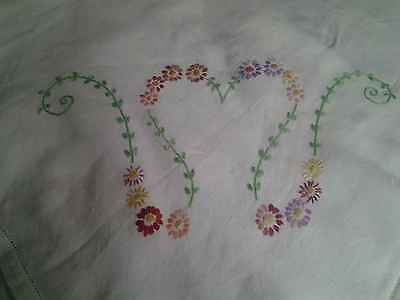Vintage Hand Embroidered Table cloth,  daisy   flowers