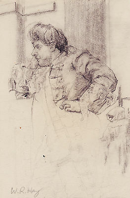 William Robert Hay Fine Pencil Drawing Figure Study With Very Good Provenance