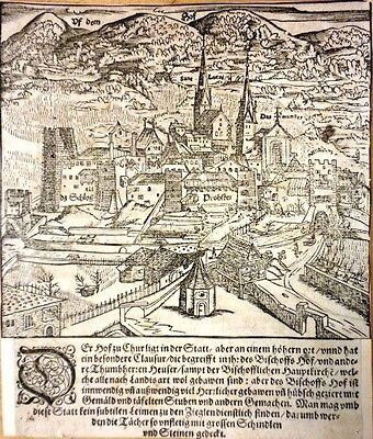 1550 Original Antique RARE Munster Map Switzerland:  Historic View