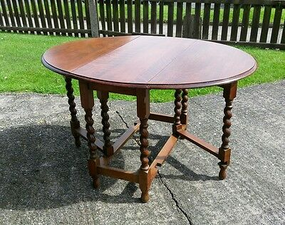 Antique Oak Drop Leaf Dining Table With Barley Twist Legs