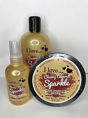 I Love… Cherry Almond Sparkle Shower Creme Bubble Bath Body Butter Bodyspray Set