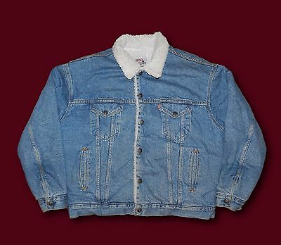 Vintage LEVI'S Sherpa Fleece Lined Denim Perfectly Worn In Jean Jacket Sz XL