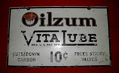 Oilzum Original Rare Vitalube Sign Metal Authentic Real Deal Gas Oil Wow!!