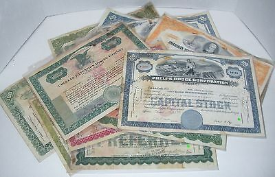 LOT OF 13 STOCK CERTIFICATES 1920s - 1960s MINING GLASS WORKS & MISC. STOCKS
