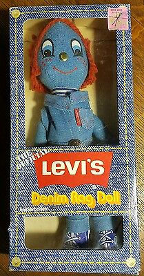 Vintage Levi's Denim Rag Doll Knickerbocker 1973 Box Style 3609 Red Hair Boy NIP