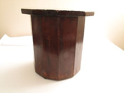 Antique Folk Art Mission Arts & Crafts A/c Small Stool End Table Hand Painted
