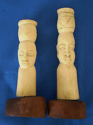 2 Antique AFRICAN Hand Carved Folk Art SCULPTURES Heads Statues on Wood Bases