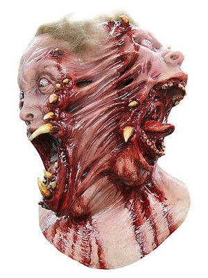 Siamese Mutant Two Faces Ripping Latex Scary Halloween Horror Head & Chest Mask