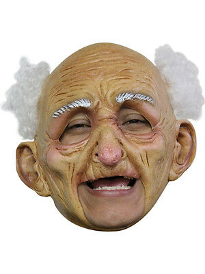 Old Man Deluxe Chinless Head Mask With Chinstrap Latex Halloween Mask