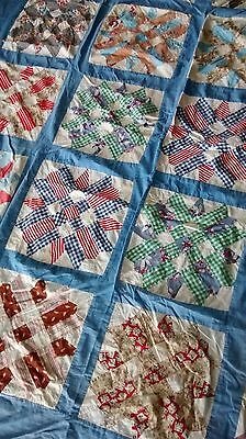 "Vintage Hand Pieced, Machine Sewn Pieced Quilt Top Topper  80"" x 66"" STARS"